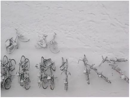 besneeuwde fietsen