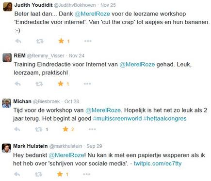 Merel Roze training schrijven reacties